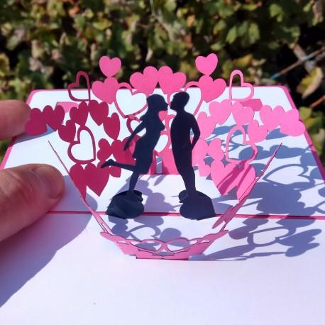 Валентинка Объёмная 3d открытка розовая