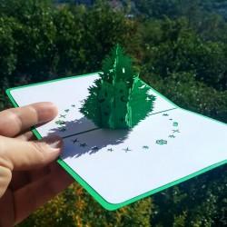 Новогодняя ёлка зелёная Объёмная 3d открытка