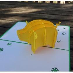 Свинья символ 2019 года Объёмная 3d открытка Жёлтая