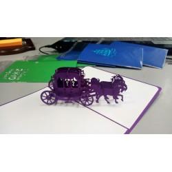 Карета Принцессы фиолетовая Объёмная 3d открытка