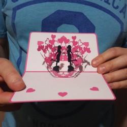 Валентинка Подружки Объёмная 3D открытка