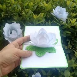 Белый цветок Объёмная 3d открытка