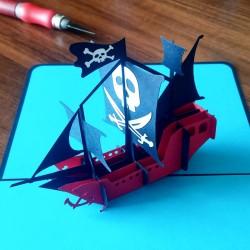 Пиратский Корабль Объёмная 3d открытка
