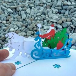 Дед Мороз в санях, запряжённых тремя медведями, с ёлкой и подарками 3D открытка