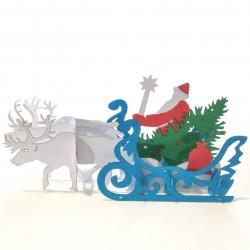 Дед Мороз в санях, запряжённых северными оленями, с ёлкой и подарками 3D открытка