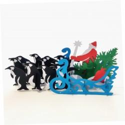 Дед Мороз в санях, запряжённых пингвинами, с ёлкой и подарками 3D открытка купить с доставкой по России