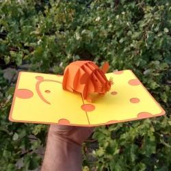 Золотая Железная Крыса Символ 2020 года по китайскому календарю 3D открытка купить с доставкой по России Мышь