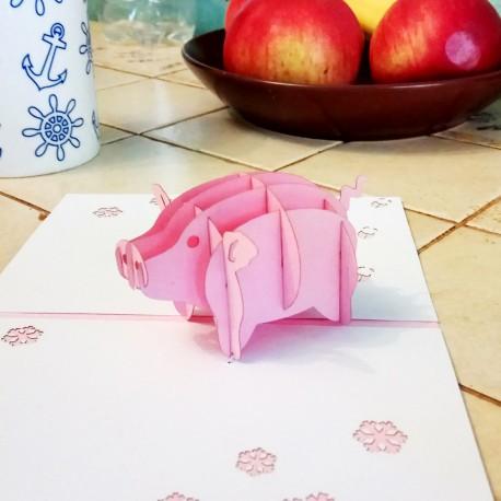 Свинья символ 2019 года Объёмная 3D открытка С новым годом свиньи купить