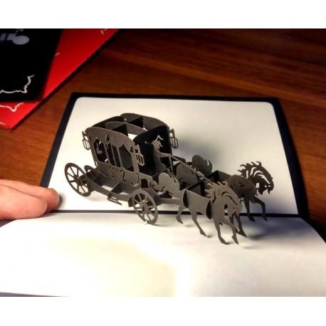 Карета чёрная Объёмная 3d открытка