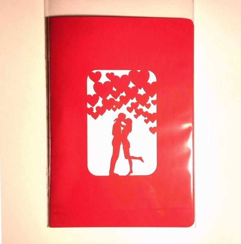 валентинка открытка объемная раскладная купить 3d pop-up kirigami поцелуй
