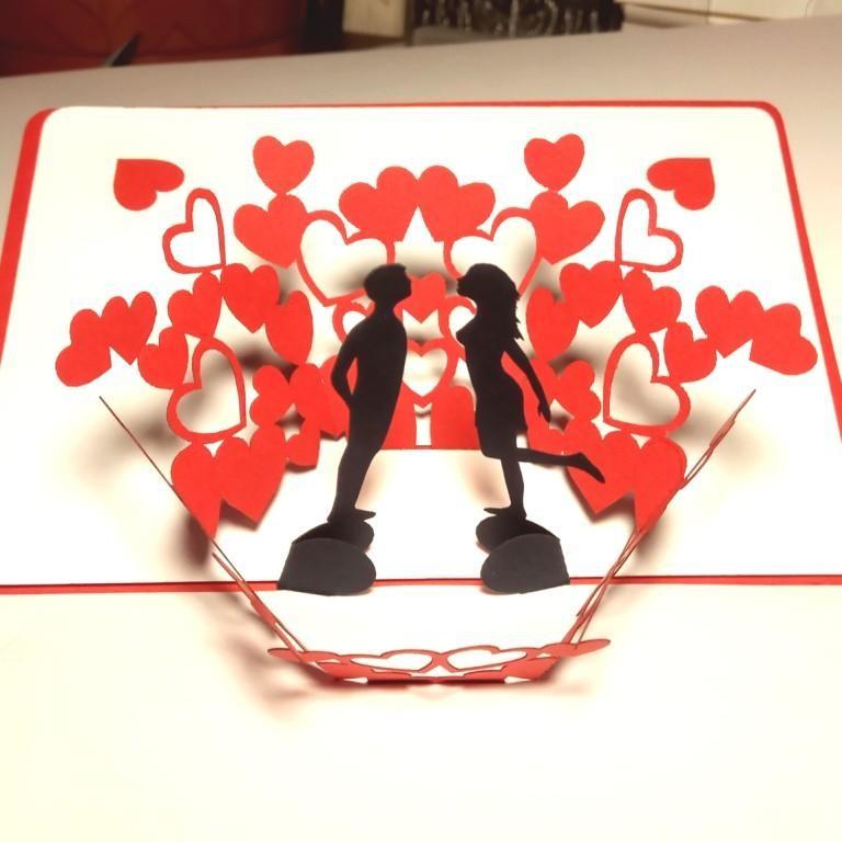 Валентинка раскладная объёмная открытка для влюблённых купить