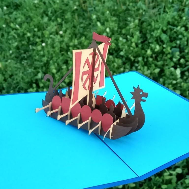 Русская ладья с 12-тью богатырями Объёмная 3D открытка киригами