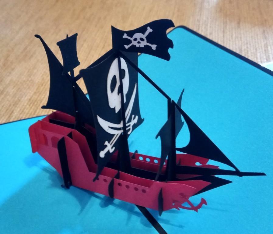 Пиратский Корабль, открытка 3d киригами pop-up lego