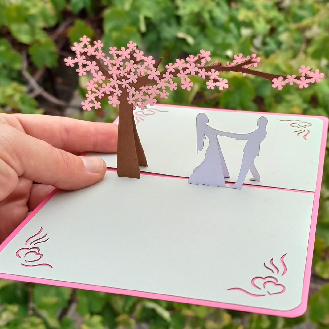 Свадебная всплывающая 3D открытка - подарочный конверт для денег купить