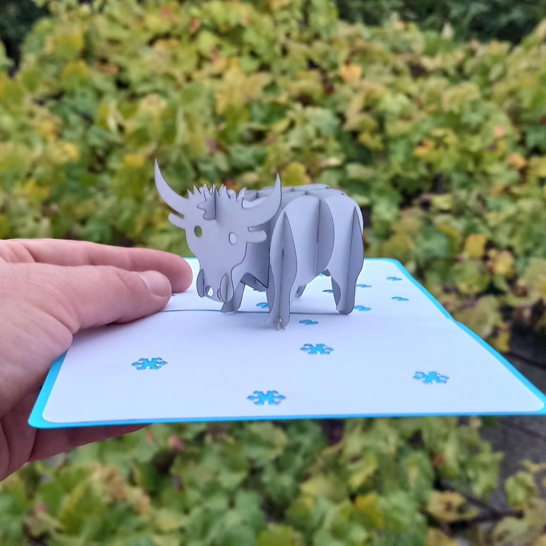Купить 3D открытку с Быком, символом 2021 года