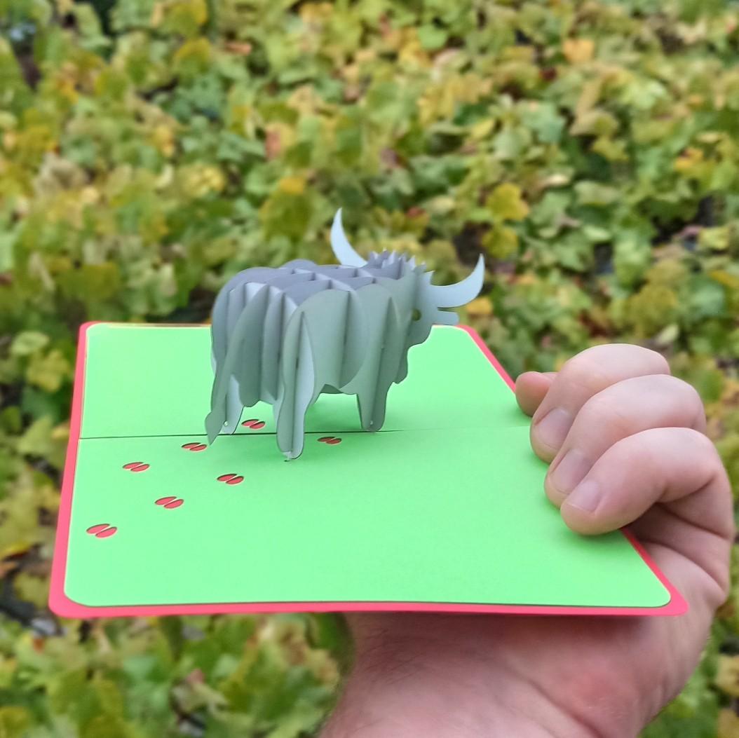 Металлический Бык 3D cards объёмная открытка символ 2021 года по-китайскому календарю Крым-трава доставка по России хендмейд
