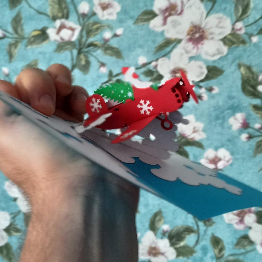 Дед Мороз с новогодней ёлкой на самолёте объёмная 3D открытка купить