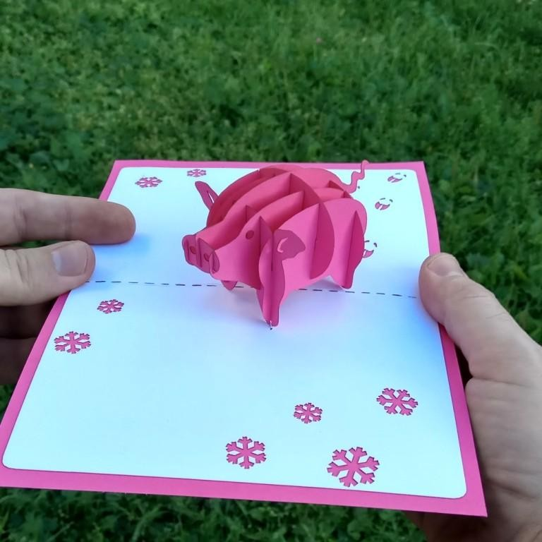 свинья символ эмблема 2019 года объёмная открытка купить pop-up kirigami 3d card объёмные открытки ручная работа лазерная резка цветной картон поделки