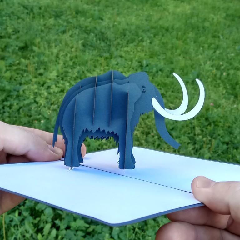 объёмная открытка купить pop-up kirigami 3d card объёмные открытки ручная работа лазерная резка цветной картон поделки мамонт
